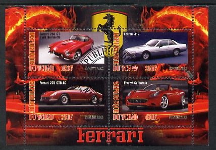 Chad 2013 Ferrari Cars #1 perf sheetlet containing 4 values fine cto used