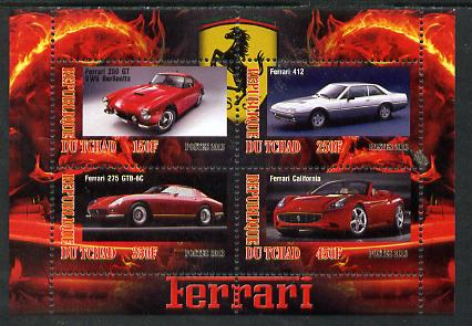 Chad 2013 Ferrari Cars #1 perf sheetlet containing 4 values unmounted mint