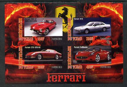 Chad 2013 Ferrari Cars #1 imperf sheetlet containing 4 values unmounted mint