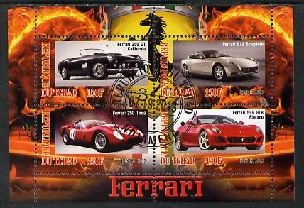 Chad 2013 Ferrari Cars #2 perf sheetlet containing 4 values fine cto used