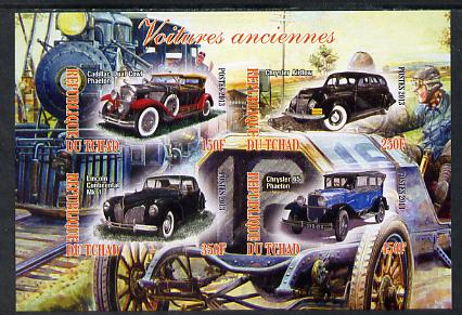 Chad 2013 Early Cars #1 imperf sheetlet containing 4 values unmounted mint