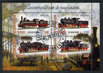 Chad 2013 Locomotives #5 perf sheetlet containing 4 values fine cto used