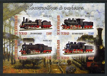Chad 2013 Locomotives #5 imperf sheetlet containing 4 values unmounted mint