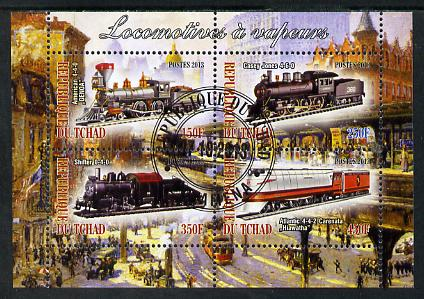 Chad 2013 Locomotives #6 perf sheetlet containing 4 values fine cto used