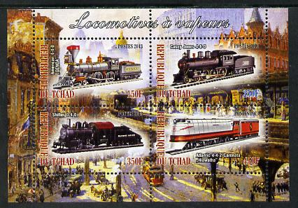 Chad 2013 Locomotives #6 perf sheetlet containing 4 values unmounted mint