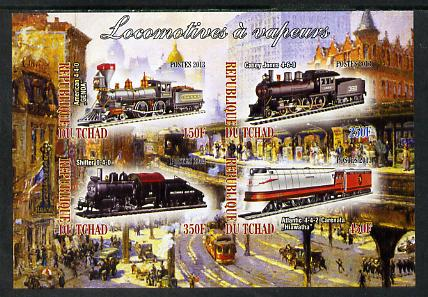 Chad 2013 Locomotives #6 imperf sheetlet containing 4 values unmounted mint