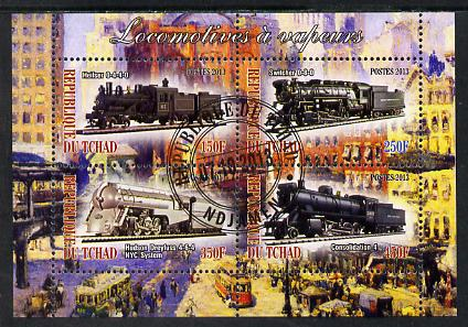Chad 2013 Locomotives #7 perf sheetlet containing 4 values fine cto used