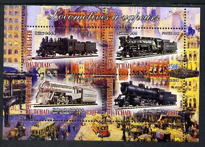 Chad 2013 Locomotives #7 perf sheetlet containing 4 values unmounted mint