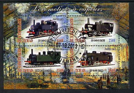Chad 2013 Locomotives #8 perf sheetlet containing 4 values fine cto used