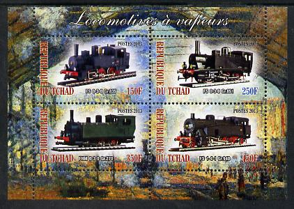 Chad 2013 Locomotives #8 perf sheetlet containing 4 values unmounted mint