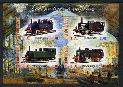 Chad 2013 Locomotives #8 imperf sheetlet containing 4 values unmounted mint