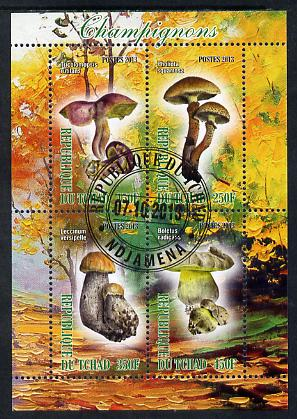 Chad 2013 Fungi #3 perf sheetlet containing 4 values fine cto used