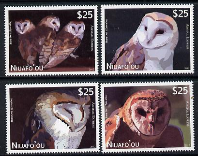 Tonga - Niuafo'ou 2012 Owls (Express Mail) perf set of 4 values unmounted mint