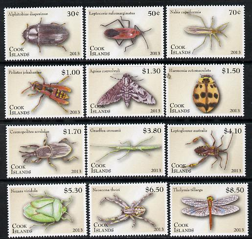 Cook Islands 2013 Entomology definitive set of 12 values unmounted mint
