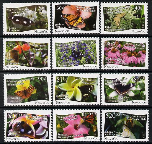 Tonga - Niuafo'ou 2012 Butterflies #2 perf set of 12 values (white background) unmounted mint