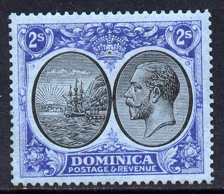 Dominica 1923-33 KG5 Badge 2s black & blue on blue unmounted mint SG 84
