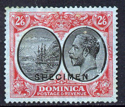 Dominica 1923-33 KG5 Badge 2s6d black & red on blue overprinted SPECIMEN with gum and only about 400 produced SG 85s