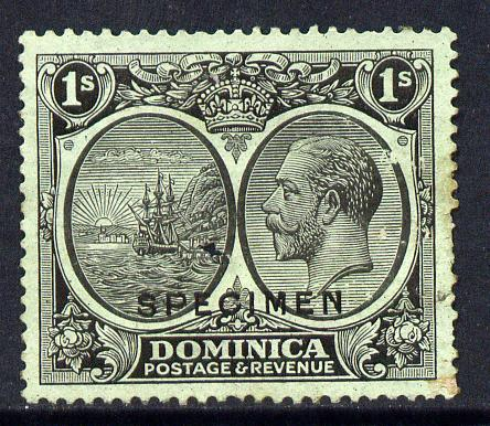 Dominica 1923-33 KG5 Badge 1s black on emerald overprinted SPECIMEN with gum and only about 400 produced SG 83s