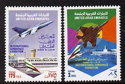 United Arab Emirates 1991 International Aerospace set of 2 unmounted mint SG 357-8