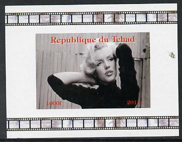 Chad 2013 Marilyn Monroe #1 individual imperf deluxe sheetlet unmounted mint. Note this item is privately produced and is offered purely on its thematic appeal. , stamps on personalities, stamps on films, stamps on cinema, stamps on movies, stamps on music, stamps on marilyn, stamps on monroe