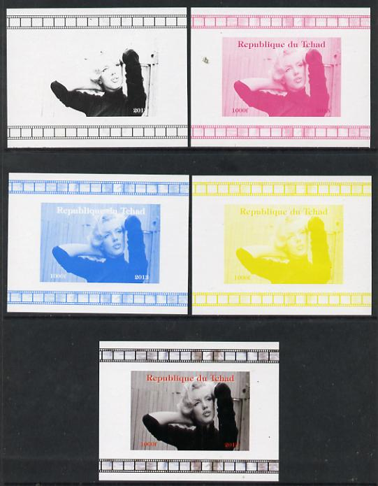 Chad 2013 Marilyn Monroe #1 individual deluxe sheetlet - the set of 5 imperf progressive colour proofs comprising the 4 basic colours plus all 4-colour composite unmounted mint