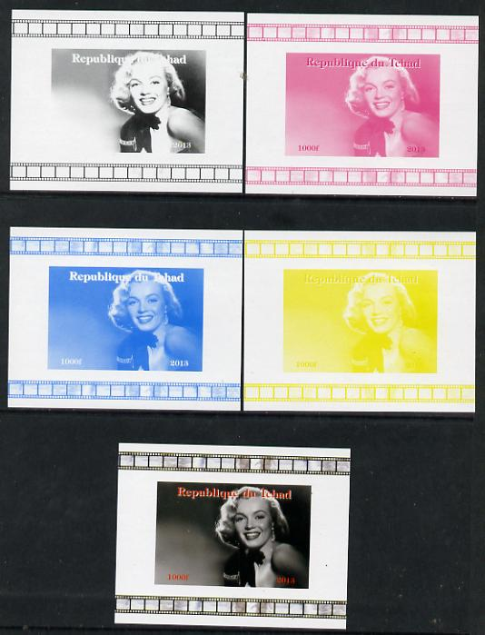 Chad 2013 Marilyn Monroe #3 individual deluxe sheetlet - the set of 5 imperf progressive colour proofs comprising the 4 basic colours plus all 4-colour composite unmounted mint