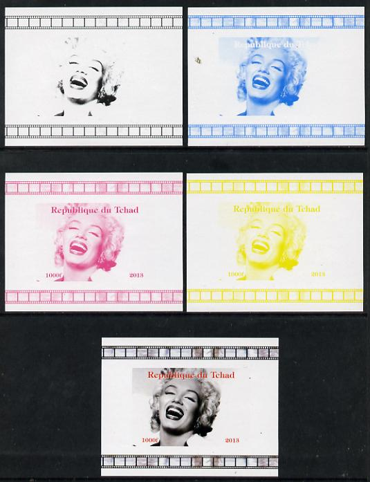 Chad 2013 Marilyn Monroe #4 individual deluxe sheetlet - the set of 5 imperf progressive colour proofs comprising the 4 basic colours plus all 4-colour composite unmounted mint