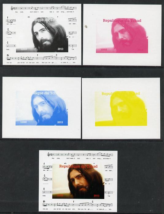 Chad 2013 The Beatles - George Harrison #1 individual deluxe sheetlet - the set of 5 imperf progressive colour proofs comprising the 4 basic colours plus all 4-colour com...