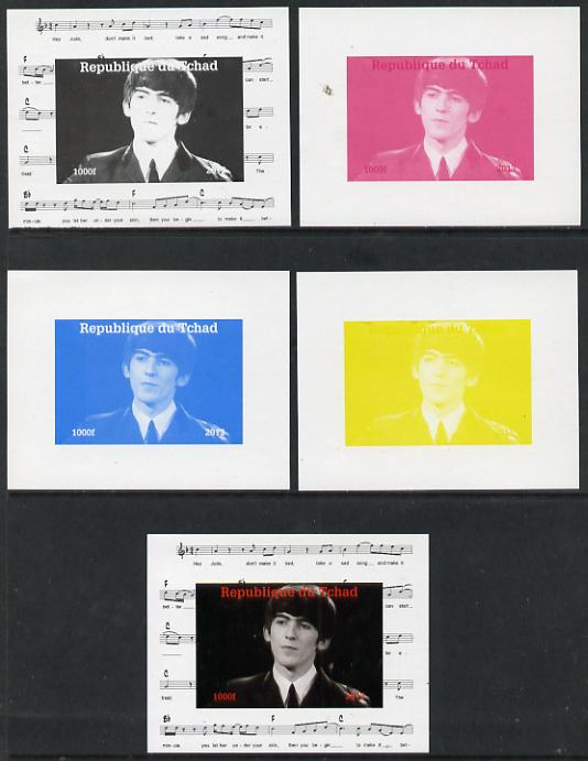 Chad 2013 The Beatles - George Harrison #2 individual deluxe sheetlet - the set of 5 imperf progressive colour proofs comprising the 4 basic colours plus all 4-colour com...
