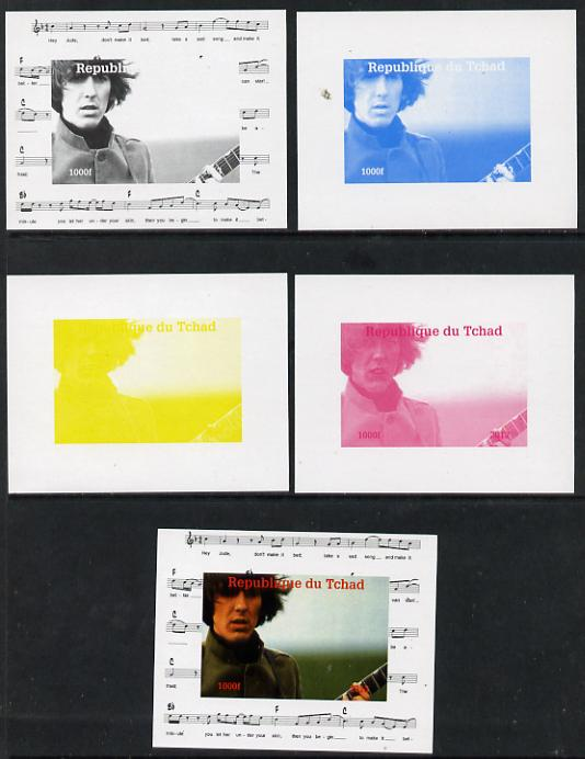 Chad 2013 The Beatles - George Harrison #3 individual deluxe sheetlet - the set of 5 imperf progressive colour proofs comprising the 4 basic colours plus all 4-colour composite unmounted mint
