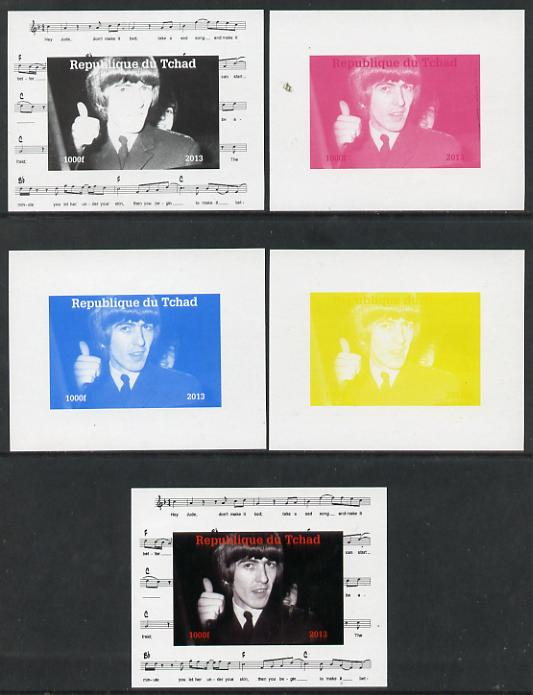 Chad 2013 The Beatles - George Harrison #4 individual deluxe sheetlet - the set of 5 imperf progressive colour proofs comprising the 4 basic colours plus all 4-colour com...