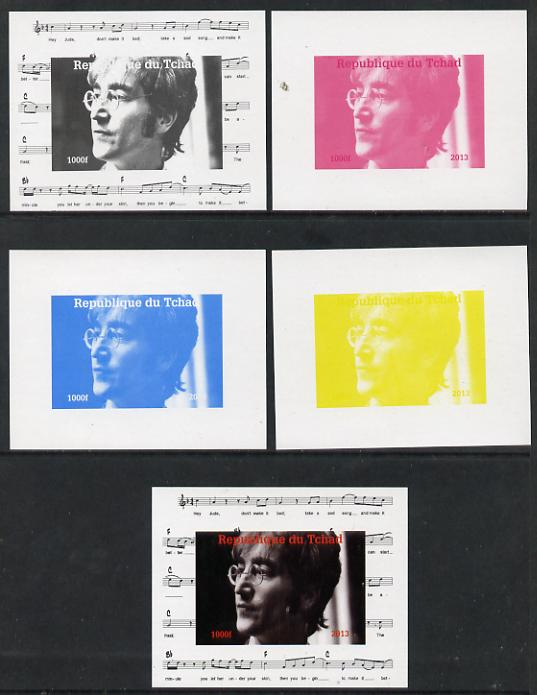 Chad 2013 The Beatles - John Lennon #1 individual deluxe sheetlet - the set of 5 imperf progressive colour proofs comprising the 4 basic colours plus all 4-colour composite unmounted mint