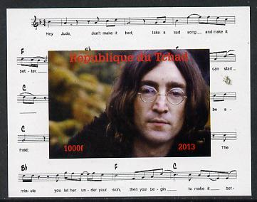 Chad 2013 The Beatles - John Lennon #2 individual imperf deluxe sheetlet unmounted mint. Note this item is privately produced and is offered purely on its thematic appeal.