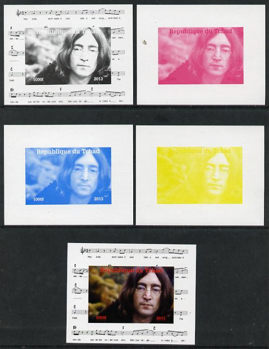 Chad 2013 The Beatles - John Lennon #2 individual deluxe sheetlet - the set of 5 imperf progressive colour proofs comprising the 4 basic colours plus all 4-colour composite unmounted mint