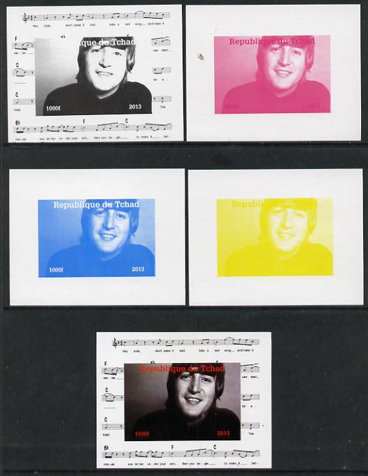 Chad 2013 The Beatles - John Lennon #3 individual deluxe sheetlet - the set of 5 imperf progressive colour proofs comprising the 4 basic colours plus all 4-colour composite unmounted mint