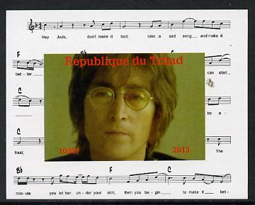 Chad 2013 The Beatles - John Lennon #4 individual imperf deluxe sheetlet unmounted mint. Note this item is privately produced and is offered purely on its thematic appeal.