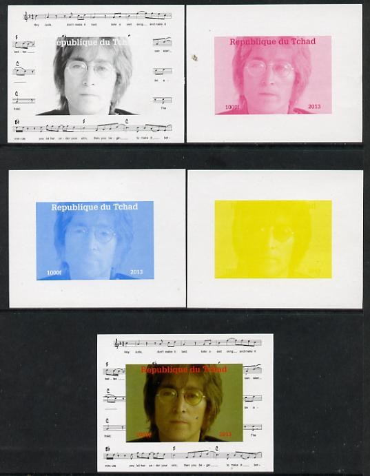 Chad 2013 The Beatles - John Lennon #4 individual deluxe sheetlet - the set of 5 imperf progressive colour proofs comprising the 4 basic colours plus all 4-colour composite unmounted mint