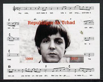 Chad 2013 The Beatles - Paul McCartney #1 individual imperf deluxe sheetlet unmounted mint. Note this item is privately produced and is offered purely on its thematic appeal.