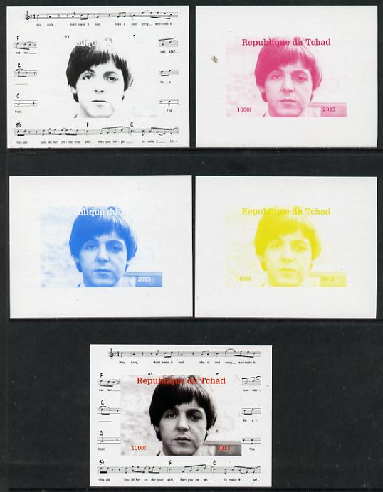 Chad 2013 The Beatles - Paul McCartney #1 individual deluxe sheetlet - the set of 5 imperf progressive colour proofs comprising the 4 basic colours plus all 4-colour composite unmounted mint