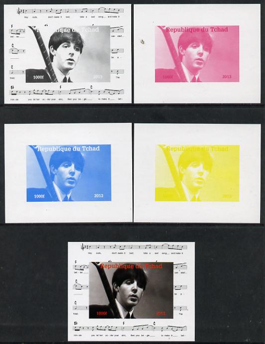 Chad 2013 The Beatles - Paul McCartney #2 individual deluxe sheetlet - the set of 5 imperf progressive colour proofs comprising the 4 basic colours plus all 4-colour composite unmounted mint