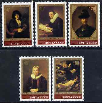 Russia 1983 Rembrandt Paintings in Hermitage Museum set of 5 unmounted mint, SG 5312-16, Mi 5259-63*, stamps on arts, stamps on rembrandt, stamps on museums, stamps on renaissance