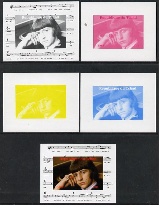 Chad 2013 The Beatles - Ringo Starr #1 individual deluxe sheetlet - the set of 5 imperf progressive colour proofs comprising the 4 basic colours plus all 4-colour composite unmounted mint, stamps on personalities, stamps on beatles, stamps on pops, stamps on music, stamps on rock