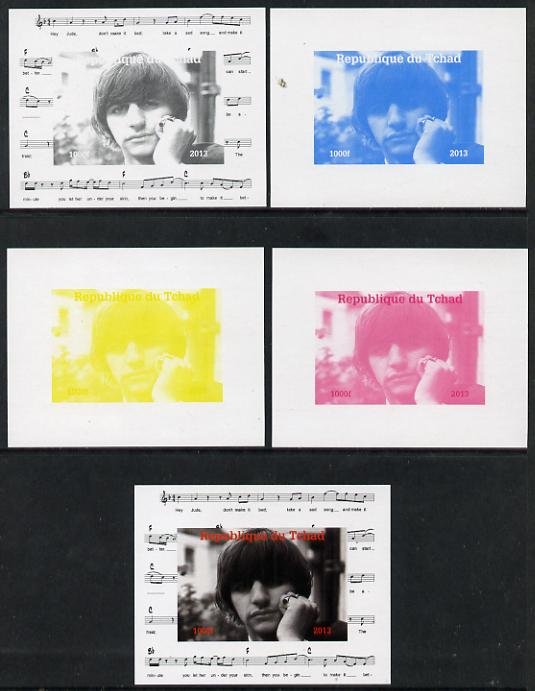 Chad 2013 The Beatles - Ringo Starr #2 individual deluxe sheetlet - the set of 5 imperf progressive colour proofs comprising the 4 basic colours plus all 4-colour composite unmounted mint