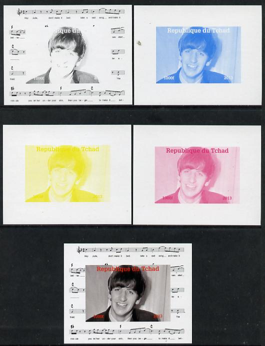 Chad 2013 The Beatles - Ringo Starr #3 individual deluxe sheetlet - the set of 5 imperf progressive colour proofs comprising the 4 basic colours plus all 4-colour composite unmounted mint