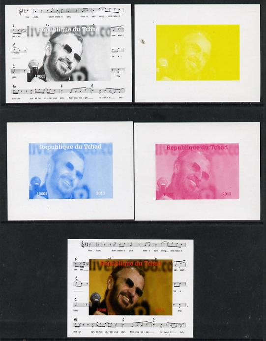 Chad 2013 The Beatles - Ringo Starr #4 individual deluxe sheetlet - the set of 5 imperf progressive colour proofs comprising the 4 basic colours plus all 4-colour composite unmounted mint