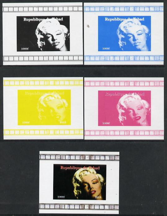 Chad 2013 Marilyn Monroe #7 individual deluxe sheetlet - the set of 5 imperf progressive colour proofs comprising the 4 basic colours plus all 4-colour composite unmounted mint