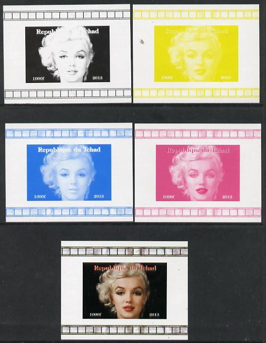 Chad 2013 Marilyn Monroe #8 individual deluxe sheetlet - the set of 5 imperf progressive colour proofs comprising the 4 basic colours plus all 4-colour composite unmounted mint