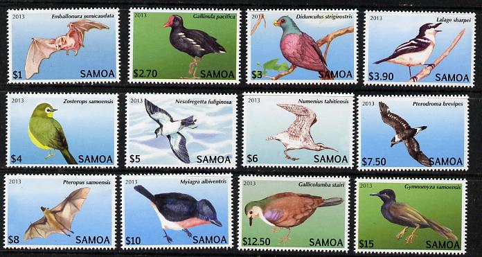 Samoa 2013 Birds - Threatened Species definitive set complete, 12 values unmounted mint