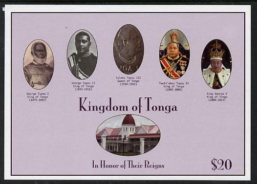 Tonga 2013 Kings & Queens of Tonga impef $20 m/sheet unmounted mint