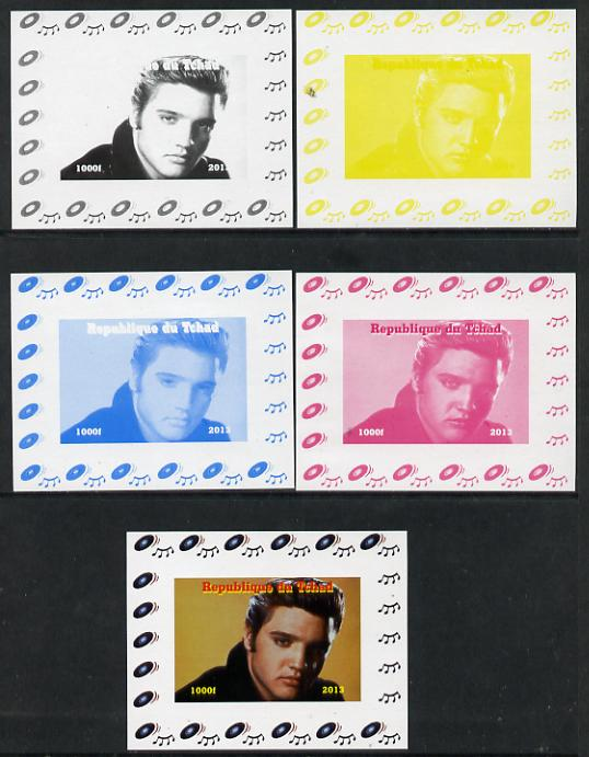 Chad 2013 Elvis Presley #05 individual deluxe sheetlet - the set of 5 imperf progressive colour proofs comprising the 4 basic colours plus all 4-colour composite unmounted mint, stamps on personalities, stamps on elvis, stamps on pops, stamps on music, stamps on rock, stamps on films, stamps on movies, stamps on cinema